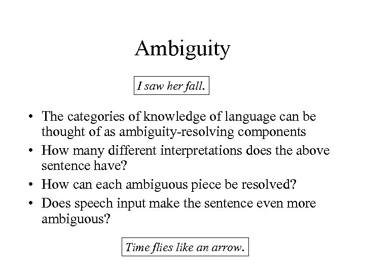 Ambiguity I saw her fall. • The categories of knowledge of language can be