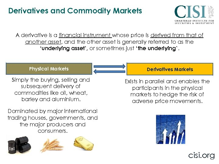 Derivatives and Commodity Markets A derivative is a financial instrument whose price is derived