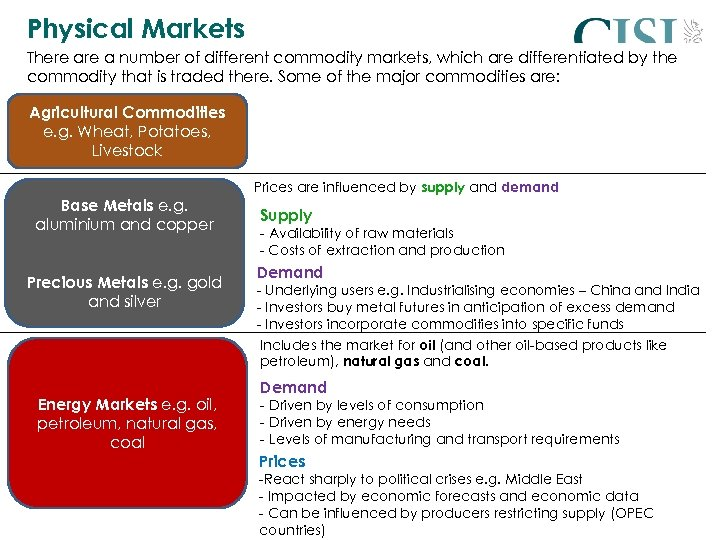 Physical Markets There a number of different commodity markets, which are differentiated by the