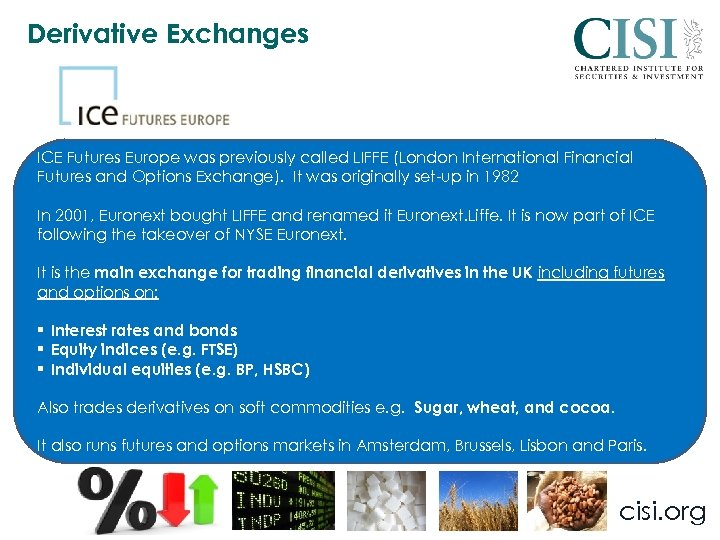 Derivative Exchanges ICE Futures Europe was previously called LIFFE (London International Financial Futures and