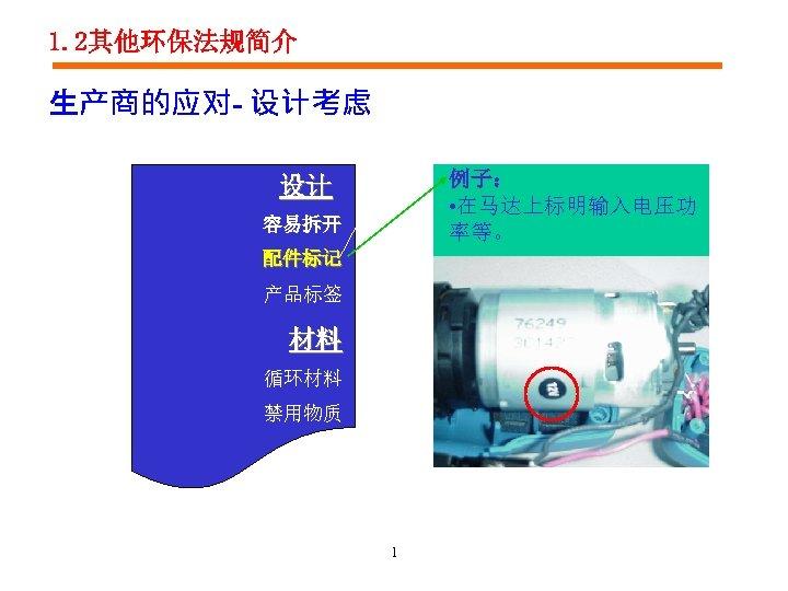 1. 2其他环保法规简介 生产商的应对- 设计考虑 例子: • 在马达上标明输入电压功 率等。 设计 容易拆开 配件标记 产品标签 材料 循环材料