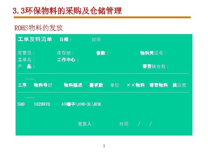 3. 3环保物料的采购及仓储管理 ROHS物料的发放 单发料清单 日期: 时间 库管员: 库存地: 套数: 物料凭证号: 单号: 作中心: 产 品: