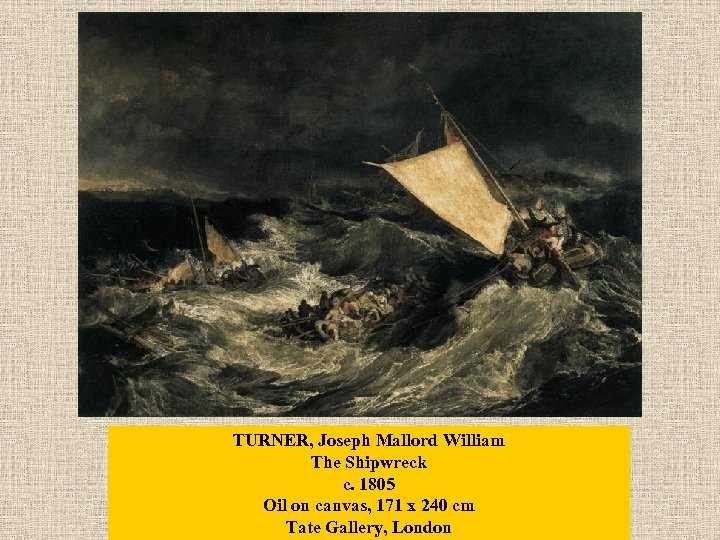 TURNER, Joseph Mallord William The Shipwreck c. 1805 Oil on canvas, 171 x 240