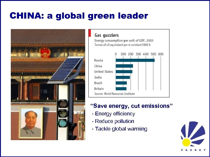 "CHINA: a global green leader ""Save energy, cut emissions"" - Energy efficiency - Reduce"