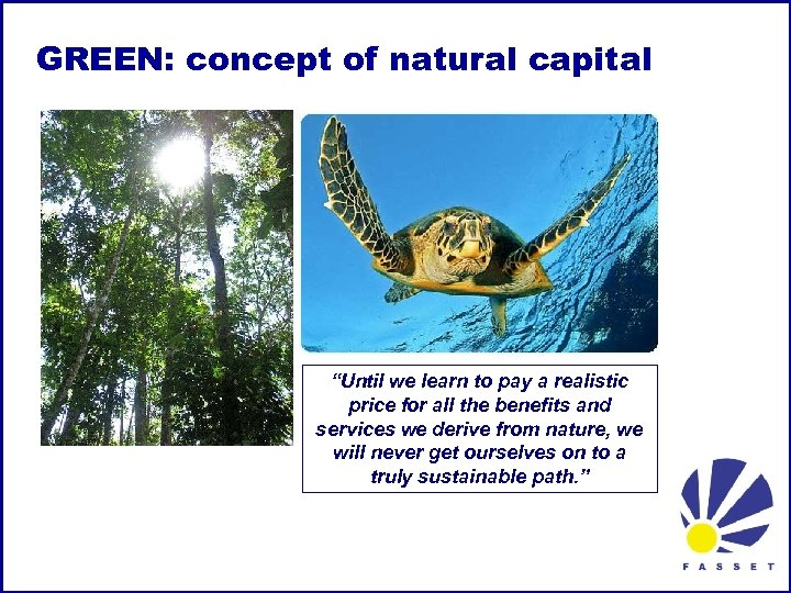 "GREEN: concept of natural capital ""Until we learn to pay a realistic price for"