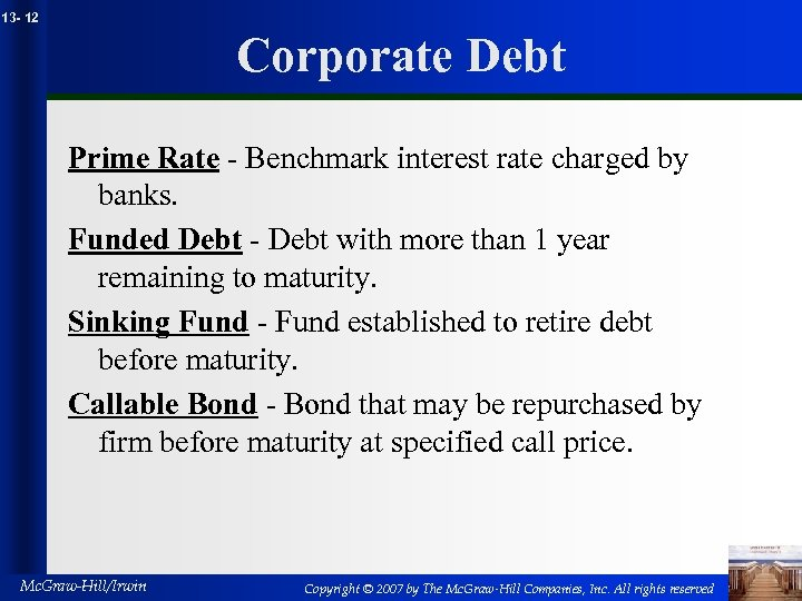 13 - 12 Corporate Debt Prime Rate - Benchmark interest rate charged by banks.