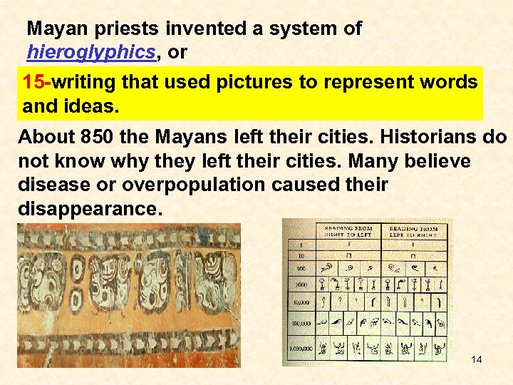 Mayan priests invented a system of hieroglyphics, or 15 -writing that used pictures to