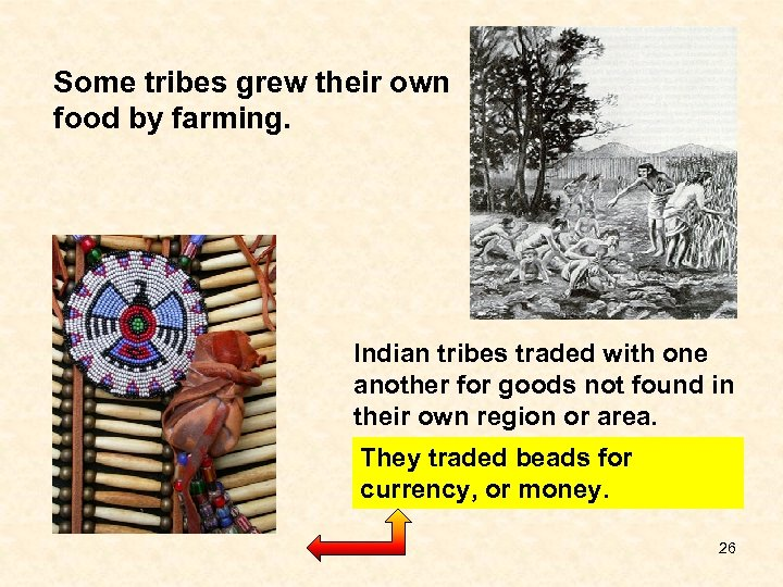 Some tribes grew their own food by farming. Indian tribes traded with one another