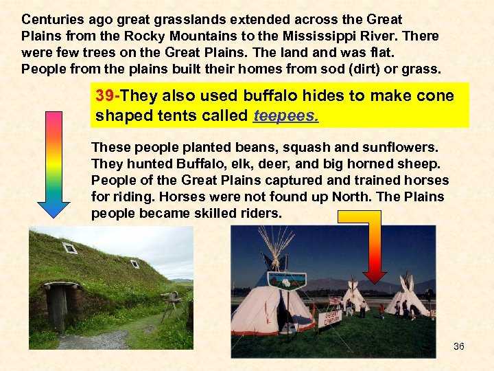 Centuries ago great grasslands extended across the Great Plains from the Rocky Mountains to