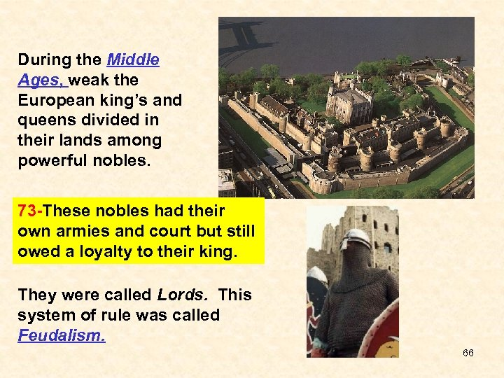 During the Middle Ages, weak the European king's and queens divided in their lands