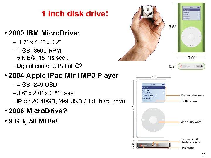 "1 inch disk drive! • 2000 IBM Micro. Drive: – 1. 7"" x 1."