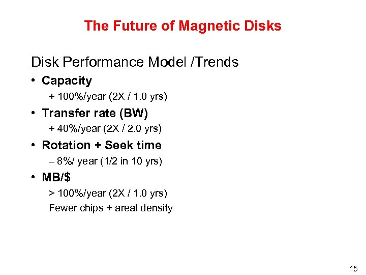 The Future of Magnetic Disks Disk Performance Model /Trends • Capacity + 100%/year (2