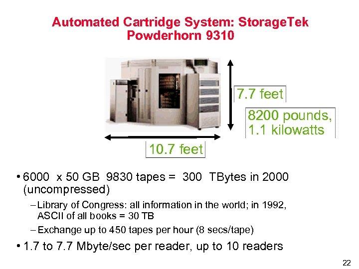 Automated Cartridge System: Storage. Tek Powderhorn 9310 7. 7 feet 8200 pounds, 1. 1