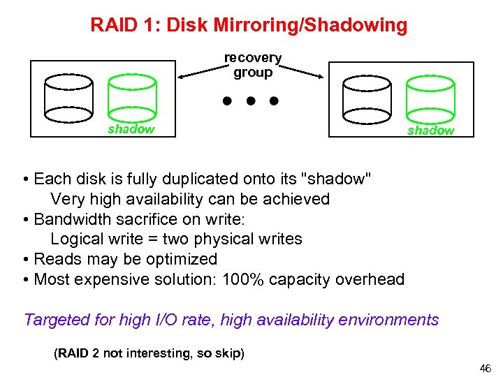 RAID 1: Disk Mirroring/Shadowing recovery group shadow • Each disk is fully duplicated onto