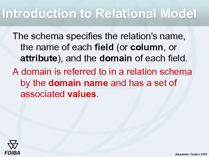 Introduction to Relational Model The schema specifies the relation's name, the name of each