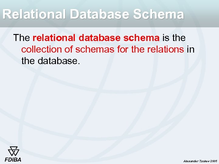 Relational Database Schema The relational database schema is the collection of schemas for the
