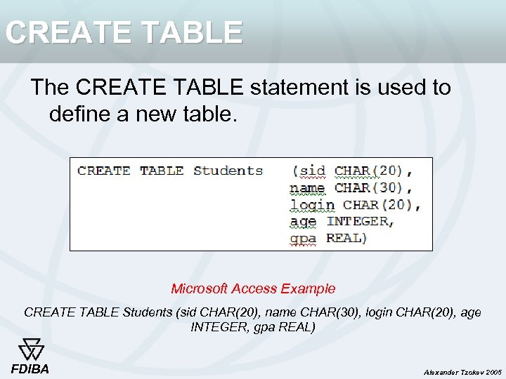 CREATE TABLE The CREATE TABLE statement is used to define a new table. Microsoft