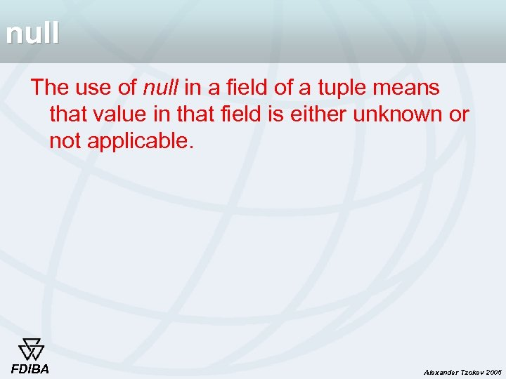 null The use of null in a field of a tuple means that value