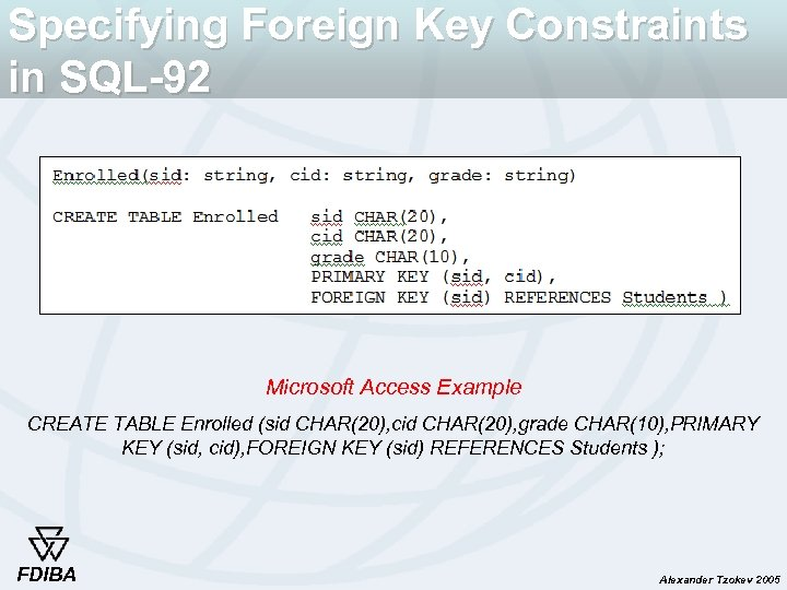 Specifying Foreign Key Constraints in SQL-92 Microsoft Access Example CREATE TABLE Enrolled (sid CHAR(20),