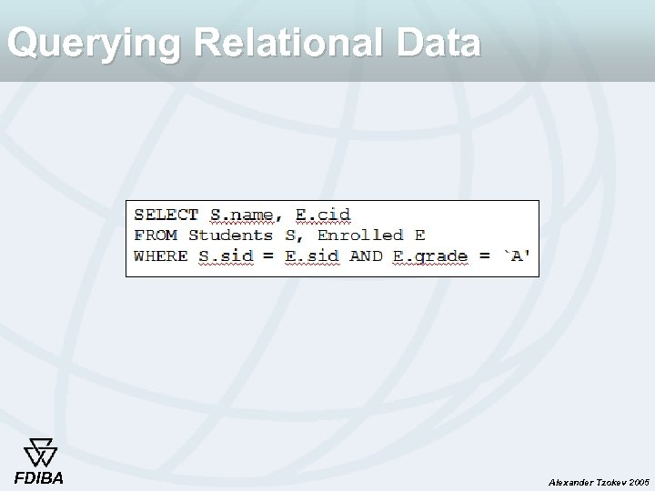 Querying Relational Data FDIBA Alexander Tzokev 2005