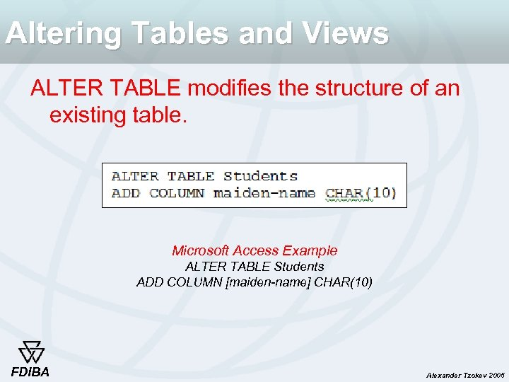Altering Tables and Views ALTER TABLE modifies the structure of an existing table. Microsoft
