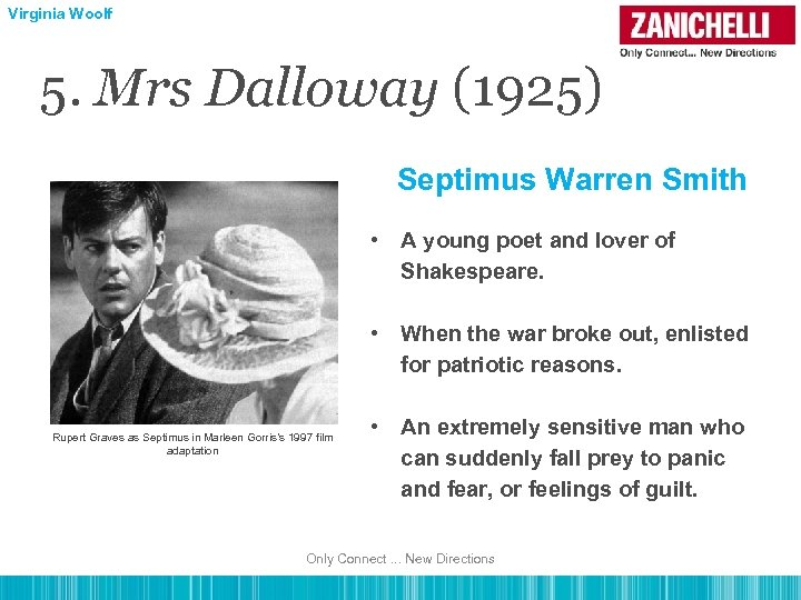 Virginia Woolf 5. Mrs Dalloway (1925) Septimus Warren Smith • A young poet and