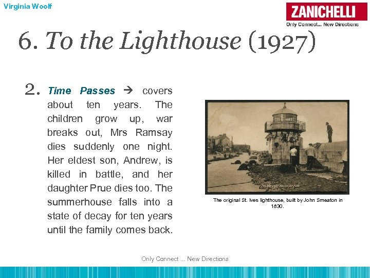 Virginia Woolf 6. To the Lighthouse (1927) 2. Time Passes covers about ten years.