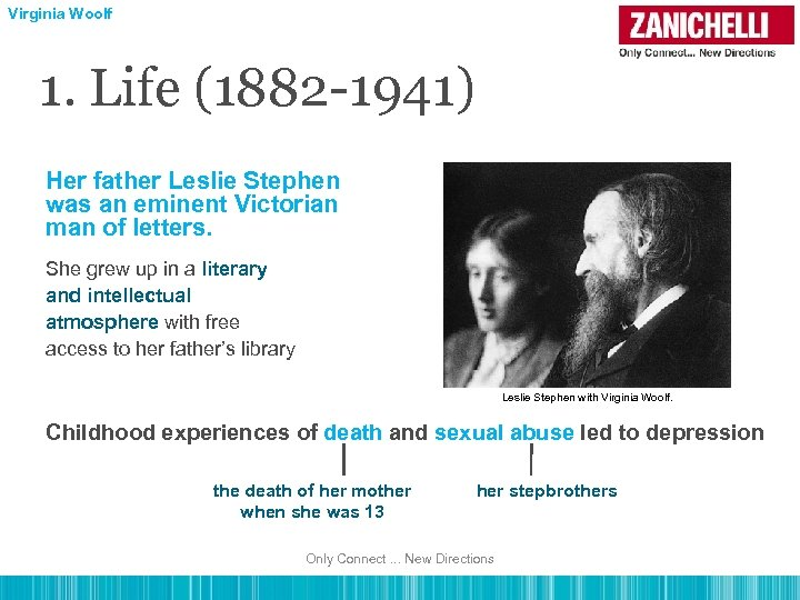 Virginia Woolf 1. Life (1882 -1941) Her father Leslie Stephen was an eminent Victorian