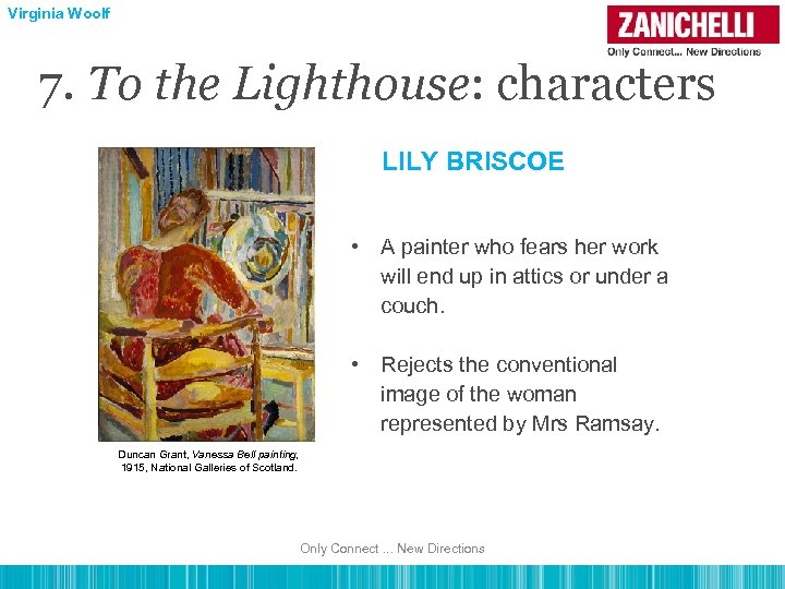 Virginia Woolf 7. To the Lighthouse: characters LILY BRISCOE • A painter who fears