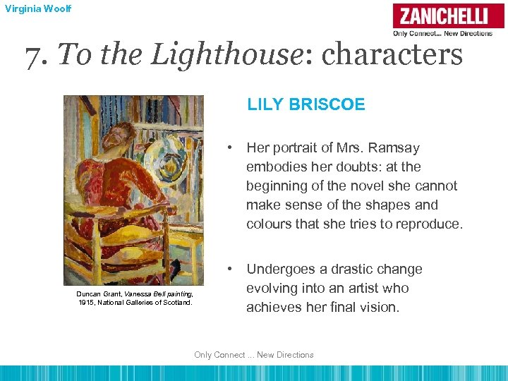 Virginia Woolf 7. To the Lighthouse: characters LILY BRISCOE • Her portrait of Mrs.