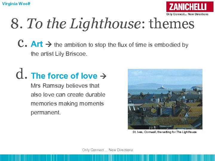 Virginia Woolf 8. To the Lighthouse: themes c. Art the ambition to stop the