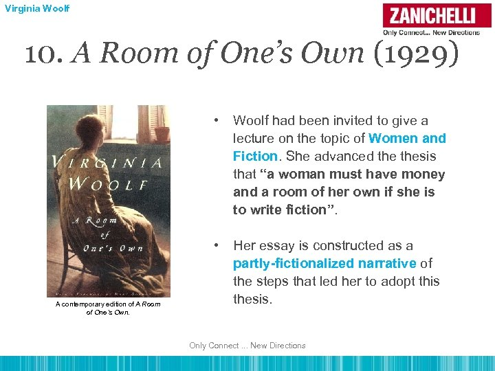 Virginia Woolf 10. A Room of One's Own (1929) • • A contemporary edition