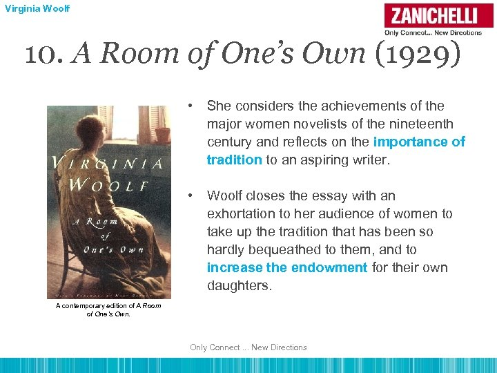Virginia Woolf 10. A Room of One's Own (1929) • She considers the achievements