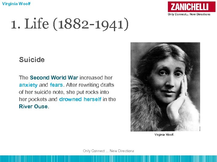 Virginia Woolf 1. Life (1882 -1941) Suicide The Second World War increased her anxiety
