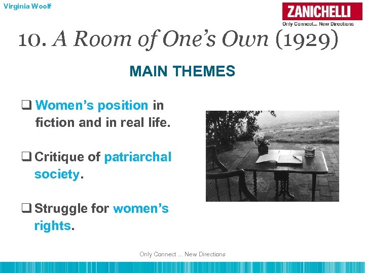 Virginia Woolf 10. A Room of One's Own (1929) MAIN THEMES q Women's position