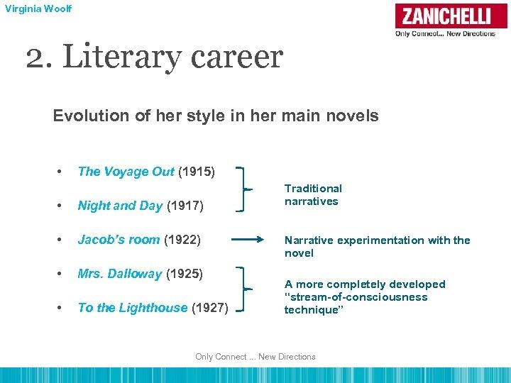 Virginia Woolf 2. Literary career Evolution of her style in her main novels •