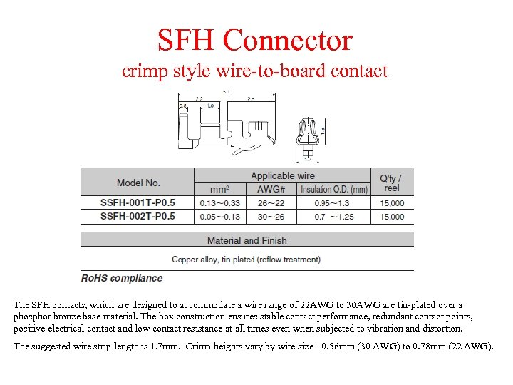 SFH Connector crimp style wire-to-board contact Standard Contact The SFH contacts, which are designed