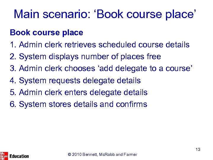 Main scenario: 'Book course place' Book course place 1. Admin clerk retrieves scheduled course