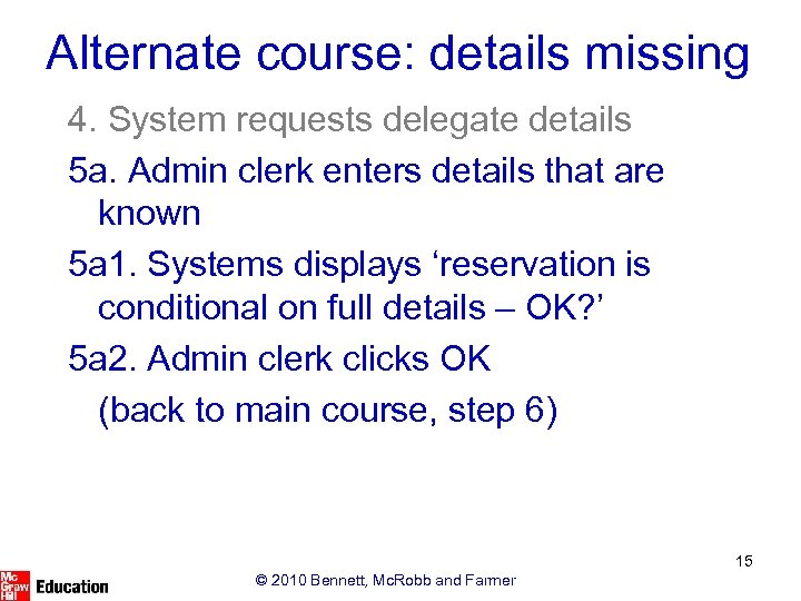 Alternate course: details missing 4. System requests delegate details 5 a. Admin clerk enters