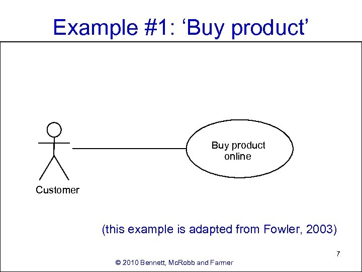 Example #1: 'Buy product' Buy product online Customer (this example is adapted from Fowler,
