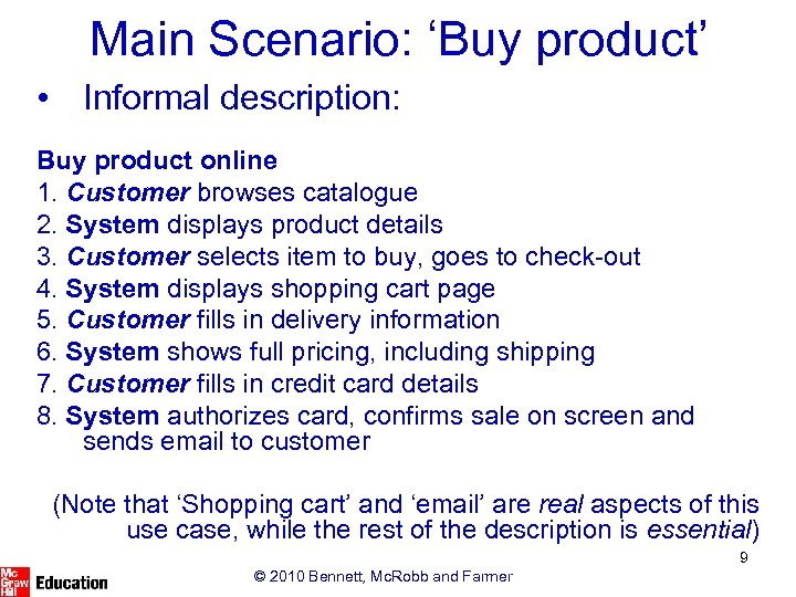 Main Scenario: 'Buy product' • Informal description: Buy product online 1. Customer browses catalogue