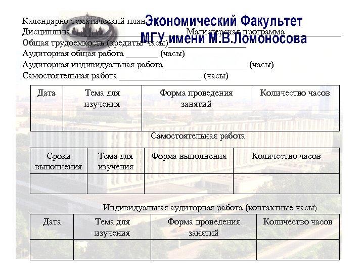 Календарно-тематический план Дисциплина_____________ Магистерская программа ______ Общая трудоемкость (кредиты/ часы)_________ Аудиторная общая работа _______