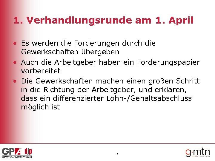 1. Verhandlungsrunde am 1. April • Es werden die Forderungen durch die Gewerkschaften übergeben