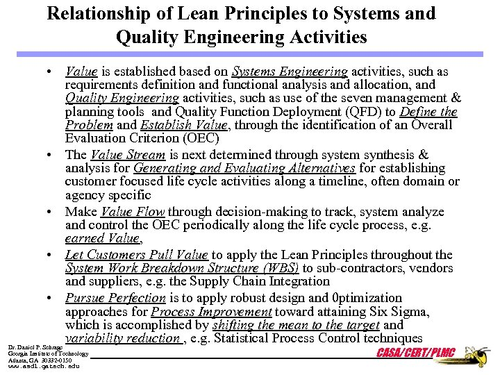 Relationship of Lean Principles to Systems and Quality Engineering Activities • Value is established