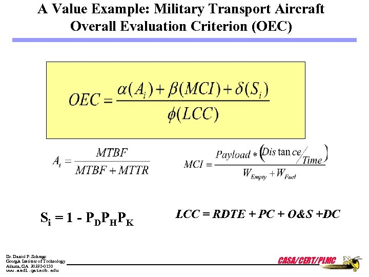 A Value Example: Military Transport Aircraft Overall Evaluation Criterion (OEC) S i = 1