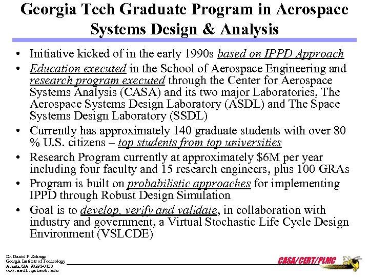 Georgia Tech Graduate Program in Aerospace Systems Design & Analysis • Initiative kicked of