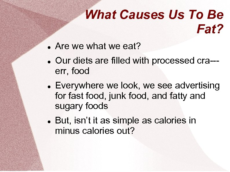 What Causes Us To Be Fat? Are we what we eat? Our diets are