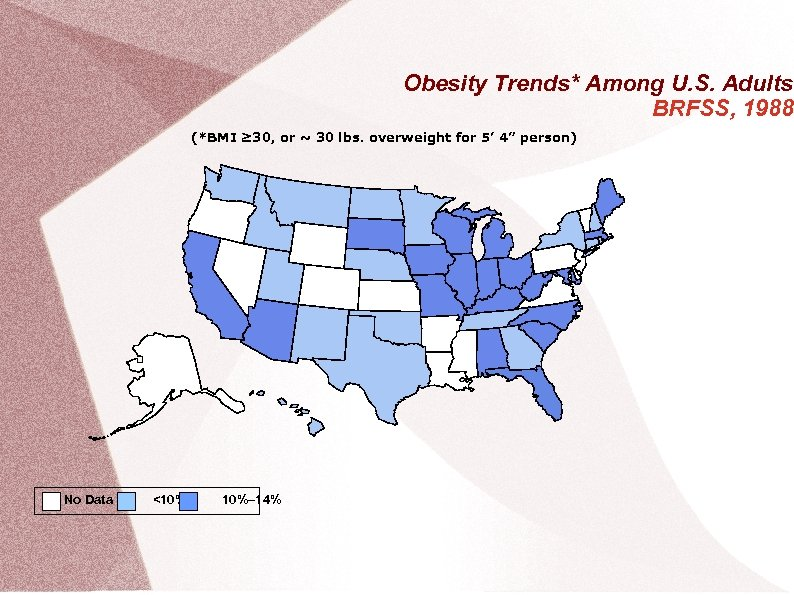 Obesity Trends* Among U. S. Adults BRFSS, 1988 (*BMI ≥ 30, or ~ 30