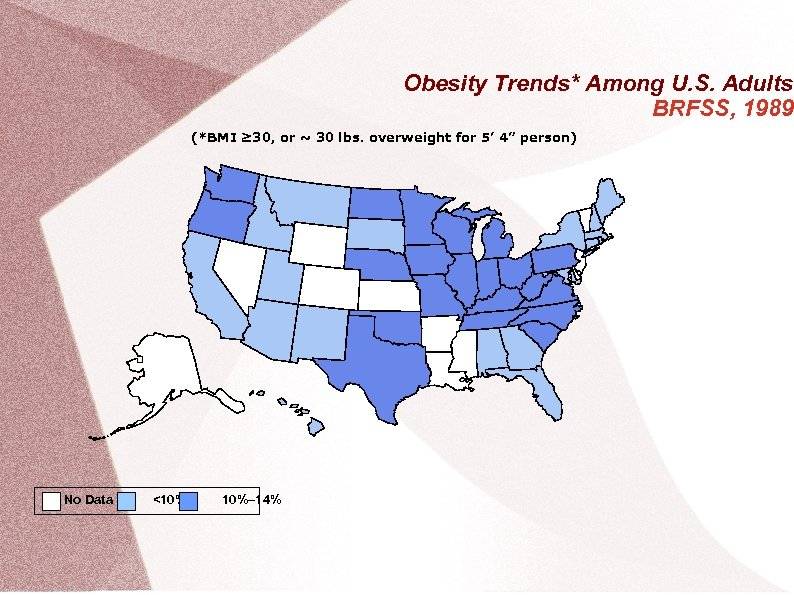 Obesity Trends* Among U. S. Adults BRFSS, 1989 (*BMI ≥ 30, or ~ 30