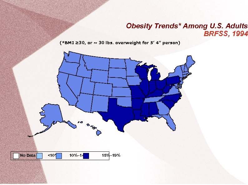 Obesity Trends* Among U. S. Adults BRFSS, 1994 (*BMI ≥ 30, or ~ 30